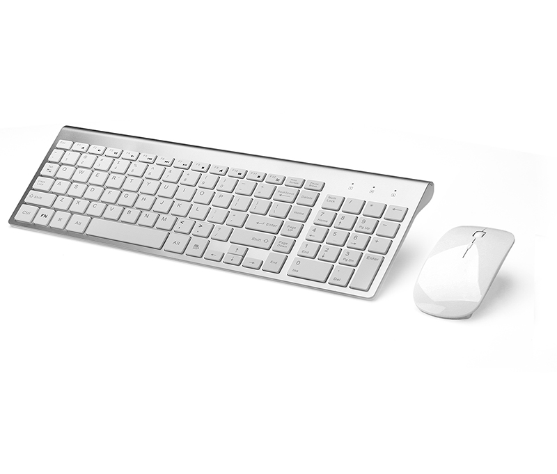 Wireless Keyboard comboWireless Keyboard and Mouse Combo,J JOYACCESS 2.4G Slim Wireless Keyboard Mouse-Portable, Full Size, Ergonomic, 2400 DPI,Extreme Power Saving,Sleek Design-White+Silver